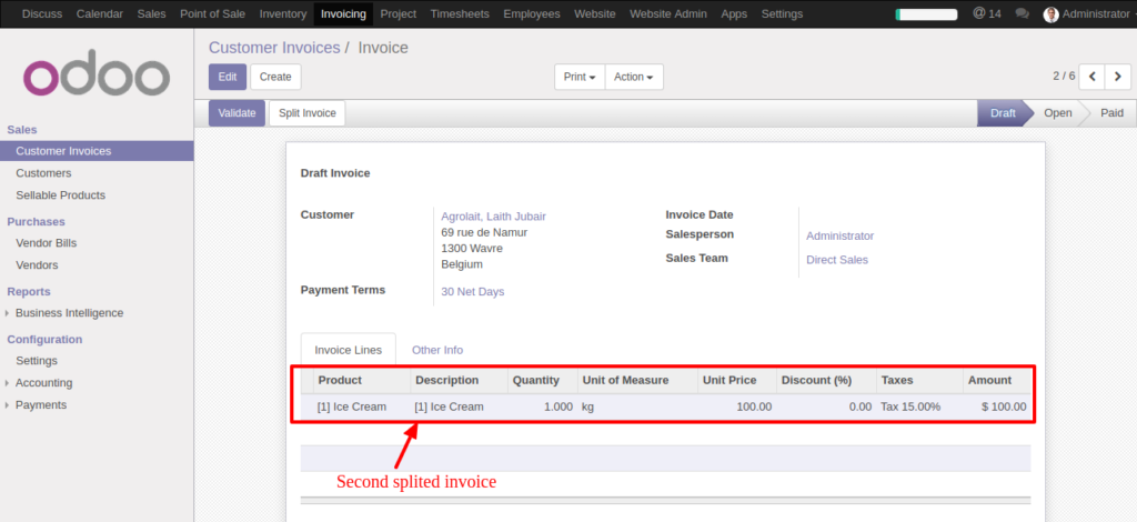 Split Invoice In Odoo With SpellBound Soft Solutions SpellBound - Below invoice